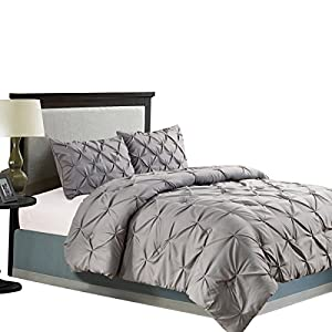 Jackson Hole Home 3 PC Elegant Original Pinch Pleat Pukering Comforter Set, Dark Gray, Queen