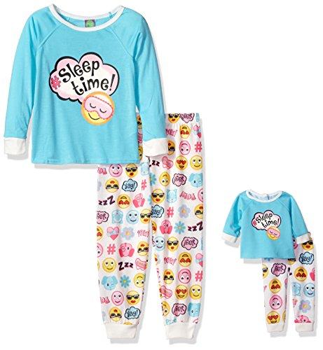 Dollie & Me Girls' Little Snugfit Sleep Set, Blue/Multi, 4 -