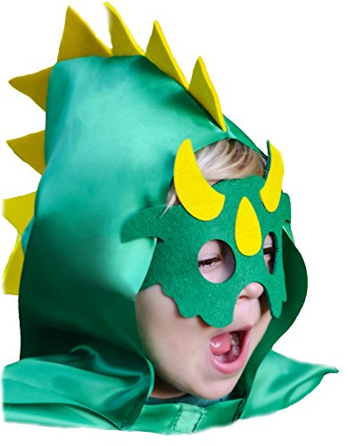 Ipad 2 Halloween Costume Hole - Halloween Green Dinosaur Mask and Hooded Spike Cape Costume Set for Imaginative Play for Toddlers
