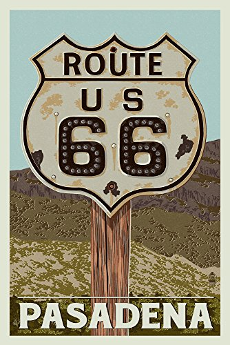 Pasadena, California - Route 66 - Letterpress Gallery Wall Decor