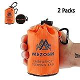 Mezonn PE Emergency Sleeping Bag Survival Bivy Sack- Use as Emergency Space Blanket, Lightweight Sleeping Bag, Survival Gear for Outdoor, Hiking, Camping - Includes Nylon Sack with Carabiner