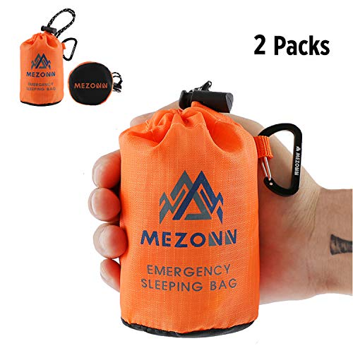 (PE Emergency Sleeping Bag Survival Bivy Sack- Use as Emergency Space Blanket, Lightweight Sleeping Bag, Survival Gear for Outdoor, Hiking, Camping - Includes Nylon Sack with Carabiner (Orange-2 Pack))