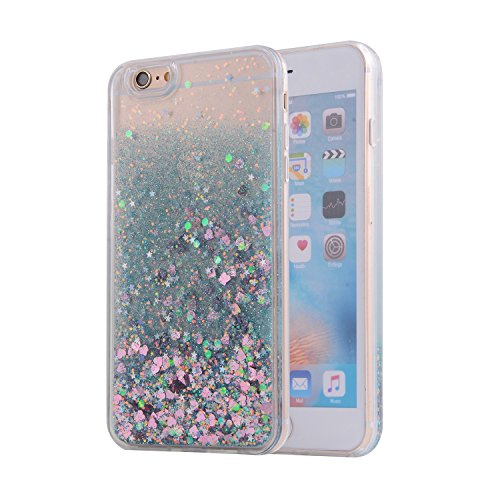 iPhone 6S Case, SAUS iPhone 6 Case, Funny Liquid Infused with Floating Bling Glitter Sparkle Dynamic Flowing Hybrid Bumper Case for iPhone 6/6S (Green)