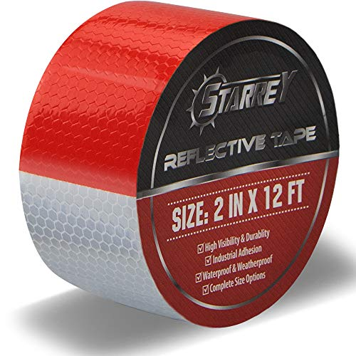 Starrey Reflective Tape Red White 2 IN X 12 FT Waterproof Self Adhesive Trailer Safety Caution Reflector Conspicuity Tape for Trucks Cars