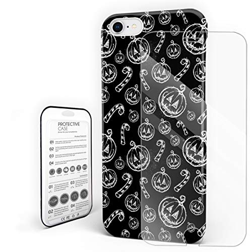 YEHO Art Gallery Christmas Phone Case Protective Design Hard Back Case,Hand Painting Halloween Sketch Pumpkin Grimace Black and White,Phone Covers with Screen Protector for Girls Boys,iPhone 7/8]()