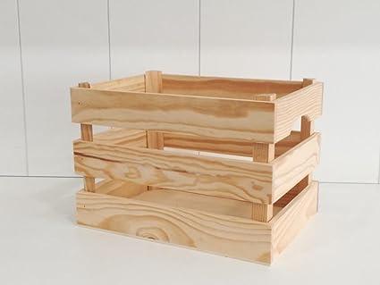 Caja madera frutas rstica En pino crudo macizo Tamao mediano