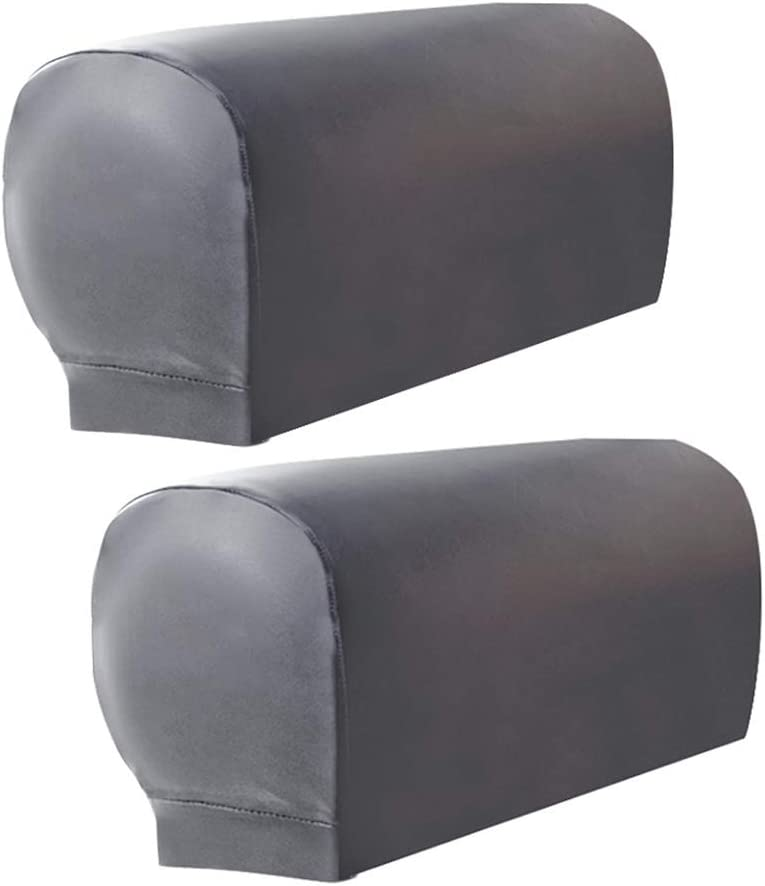 Amazon Com Zeeneek 2pcs Sofa Armrest Covers Armchair Arm Covers Stretch Sofa Arm Caps Armrest Covers For Chairs Furniture Protector Set Armrest Covers Spandex Pu Leather Arm Caps For Arm Slipcovers Grey Furniture Decor
