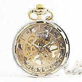 WWJ De oro de oro mecánica reloj de bolsillo / moda / transparente reloj de lujo / personalidad hueca y sin reloj de bolsillo de tapa