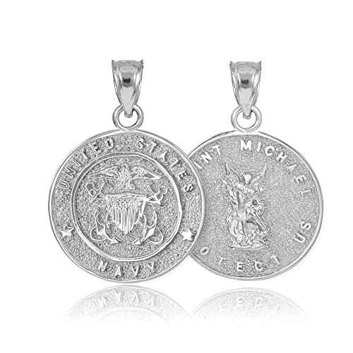 - American Heroes Fine Sterling Silver St Michael Medal Protection Charm US Navy Reversible Pendant