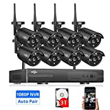【Update 3TB HDD Pre-Install】 Wireless Security Camera System,HisEEu 8CH 1080P NVR Home Security Camera System(CCTV Kits) with 8PCS 1080P Outdoor/Inddor Wireless Bullet IP Security Cameras 2.0M Pixel