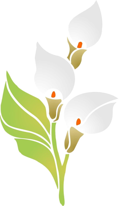Arum Lily stencil–16.5x 26.5cm–riutilizzabili flora bouquet di calle stencil da–da usare su carta progetti scrapbook Bullet Gazzetta muri pavimenti tessuto mobili in vetro legno ecc. Stencil Company