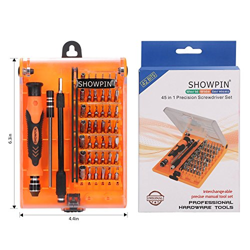 Showpin 45in1 Mini Precision Screwdriver Set with Case with Tweezer Handle and Small Torx Hex Bits,Professional Repair Tool Kit with 42 Magnetic Bits,for PC,iphone,Tablet,Laptop,Camera,Game Console by Showpin (Image #6)