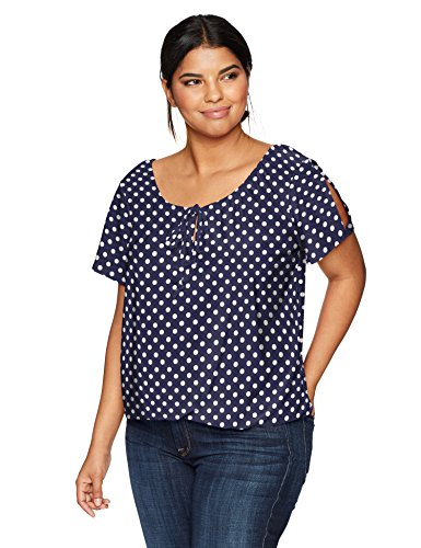 Star Vixen Women's Plus-Size Short/Slit Sleeve Keyhole-Tie Peasant Top Bubble Hem, Navy/White dot, 2X