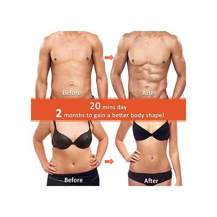 51Zacd7WqqL 【10 Modos & 20 Niveles de Intensidad】 - EMS electroestimulador muscular abdominales es un diseño profesional para el entrenamiento muscular, se utiliza para diferentes ejercicios parciales del cuerpo. Hay10 modos y 20 intensidades disponibles para ayudar al crecimiento muscular y la quema de grasa, y mantener la forma del cuerpo. Simplemente coloque la colchoneta donde desea hacer ejercicio, solo necesita ajustar la intensidad de la comodidad. 【Flexible & Portátil & Fácil de Llevar】 - Puede comenzar su programa de acondicionamiento físico sin importar cuándo/dónde, como: hacer ejercicio mientras lee, hacer las tareas domésticas, trabajar, mirar televisión o incluso durante viajes de negocios o de placer, etc...El estimulador electrónico de abdominales se puede usar en cualquier momento y en cualquier lugar, ya que es lo suficientemente pequeño como para guardarlo en el maletín, es muy fácil de llevar. 【20 Minutos por Día】- Envía señales directamente a los músculos y promueve el movimiento muscular. Úselo para el entrenamiento del abdomen / brazo / pierna para tensar la grasa del vientre, perder peso rápidamente y entrenar más eficazmente. arregle el estimulador de abs en su cuerpo 20 minutos todos los días, lo que equivale a 2000 metros corriendo, 60 minutos de sentadillas, 60 minutos de natación libre, 2 semanas de dieta.