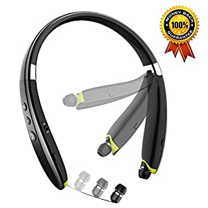 Newest Foldable Bluetooth Headset,Wireless Neckband Sports Headphones with Retractable Earbud, Bluetooth 4.1 Stereo Earphones Built-in Mic for iPhone, Android & Other Bluetooth Devices (Black)