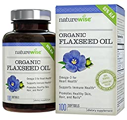 NatureWise Flaxseed Oil with Omega-3's for Healthy Skin, Nails & Hair, Promotes Cardiovascular Health & Immune Support, Non-GMO, Gluten-Free, 1000mg, 100 count