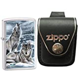 Zippo 28002 Mazzi Brushed Chrome Howling Wolves Windproof Pocket Lighter with Zippo Black Leather Loop Pouch