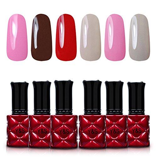 Yaoshun Gel Nail Polish Sack Off Nail Design Nail Gray Red Pink Color Coat 6Pcs/Lot 8ml (Red Coats Sack)