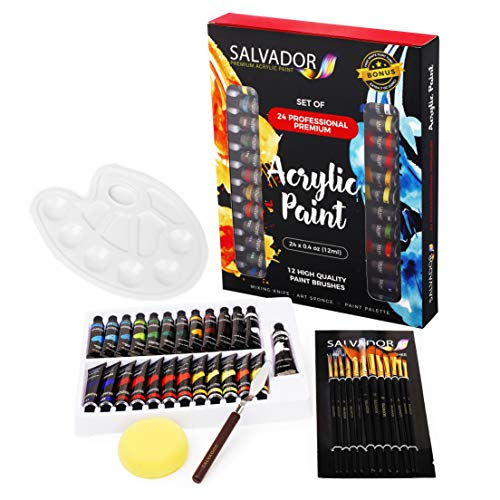 Salvador Acrylic 40 Piece Paint Set - 24 Colors (12ml/tube), Paint Kit with Premium Paint Brushes, Mixing Knife, Paint Palette & Sponge, Professional Painting Set Arts Crafts Supplies for Adults Kids