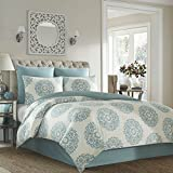 King Size Comforter Sets 110 X 96 4 Piece Medallion Print Comforter Set King Size, Round Ornate Coral Elegant Classic Design, Indian Mandala Soft Subtle Stripped Coastal Pattern Fluffy Reversible Bedding, Abstract Aqua Blue Cream