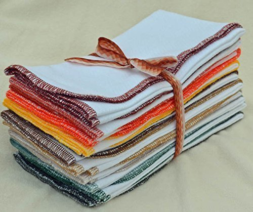 Paperless Towels, 1-Ply, Made from White Cotton Birdseye Fabric - 11x12 inches (28x30.5 cm) Set of 10 in Assorted Earthtone Colors