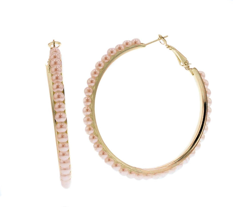 Violet & Virtue Classic Eternity Faux Pearl Endless Hoop Earrings