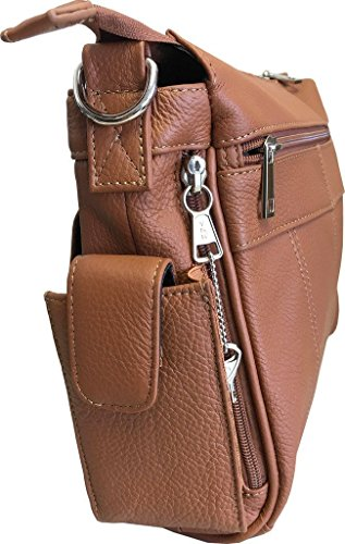 Leather Leathers Pistol Concealment Purse Medium Roma Buckle CCW Brown with Genuine 7084 Xqxd1T