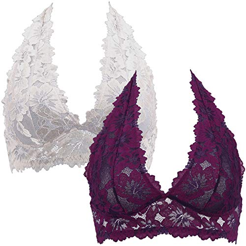 Curve Muse Plunge Bralette with Floral Lace-2pack-PURPLE,Grey-M