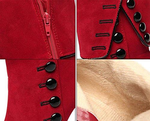 Side Ankle DADAWEN Black Heel High Suede Boots Women's Zipper avw4qAIw
