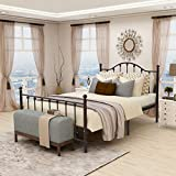 Queen Size Metal Bed Frame Mattress Platform Foundation with Headboard Iron Beds Heavy