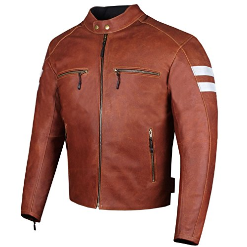 (New AXE Men's Leather Jacket Motorcycle Armor Biker Safety Cruiser Brown XL)