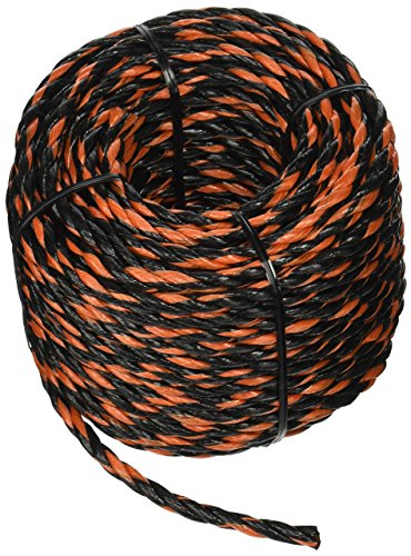 Lehigh Group TR8100HD Wellington Twisted Truck Rope, 3/8 in Dia X 100 Ft L, Polypropylene, High Visibility, 100', Black/Orange