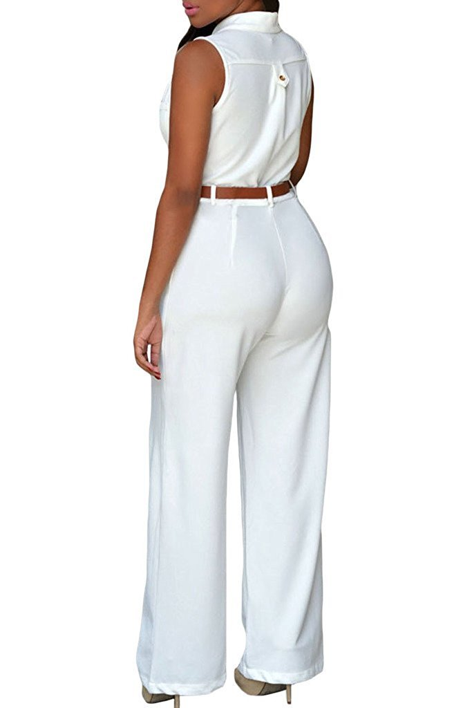 3686bc4636a9 roswear Women s Sexy Plunge V Neck Belted Wide Leg Jumpsuits Romper White  Medium   Jumpsuits