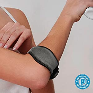 Tennis & Golfer's Elbow Support Brace Strap with Compression Recovery Pad Band for Pain Relief Against Epicondylitis for Men and Women from Perfect Posture (1-Count)