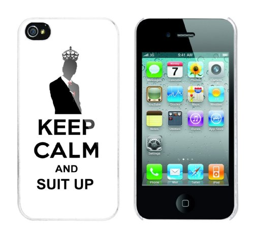 Iphone 4 Case Keep Calm and Suit Up Rahmen weiss