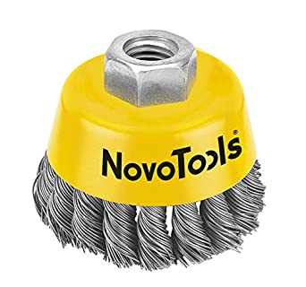 For Metal An Stone Working NOVOTOOLS 65mm Twisted Knot Wire Cup Brush Surface Preparation Cleaning Industrial Quality For Angle Grinders With M14 x 2.0 High Carbon Steel Wire 0.50mm