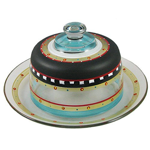 Mosaic Chalkboard & Stripes Hand Painted Glass Cheese Dome with Plate - Stripe Mosaic Blue