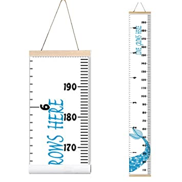 Kids Mermaid Growth Chart Baby Roll-up Wood Frame Canvas Fabric Removable Height Growth Chart Wall Art Hanging Ruler for Nursery Bedroom 79 x 7.9 Inch