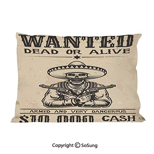 SoSung Western Bed Pillow Case/Shams Set of 2,Dead Skull with Cowboy Hat and s in Retro Vintage Texas Art Print King Size Without Insert (2 Pack Pillowcase 36