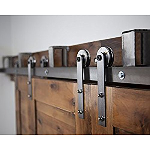 (WINSOON 5FT Heavy Steel Home Doors Install Double Sliding By Pass Barn Door Hardware Track Roller Set (Straight Style))
