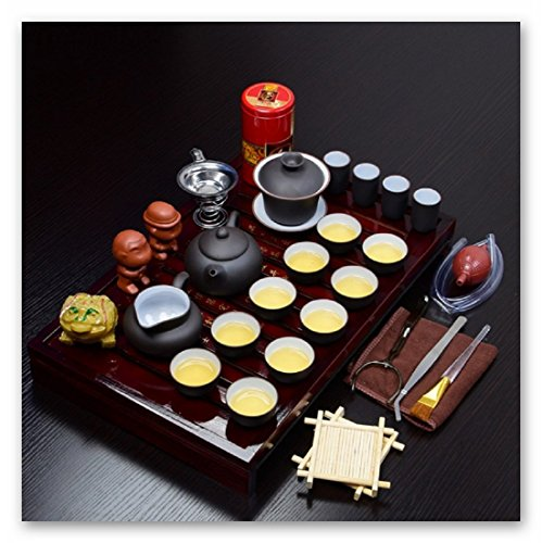 TC@China Traditinal Art Purple Clay Handicrafts Tea Set with Wooden Tea Box 29 Pcs(Black and White Mixed)
