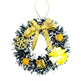 KFSO 4.7 Inch Spruce Wreath with Silver Bristles, Cones, Red Berries - Christmas Tree Decor Hang Ornament (B)