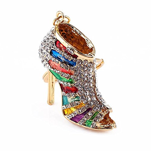 BAOBAO Bling Crystal Rhinestone Shoes High Heel Keychain Car Bag Purse Keyring(Multicolor) from BAOBAO