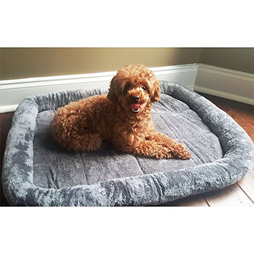 MaxLit Ultra-Soft Padded Pet Bed -Multi Size & Color -For Cats and Dogs -Medium – 36″ x 23″, Gray Review