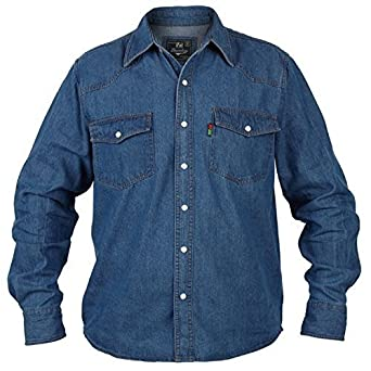 fcd1c2005b Big Large King Size Mens Rockford Duke Western Denim Shirt Stonewash Blue Long  Sleeved Top (