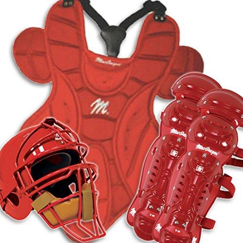 Youth Catchers Macgregor Gear (MacGregor Baseball Catchers Gear with Rawlings Helmet - Junior Color: Scarlet)