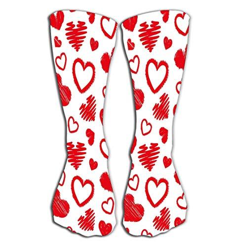 YILINGER Hearts Love Theme Valentine s Day Background Wallpaper Color Men's Women Socks High Graduated Casual Socks 19.7