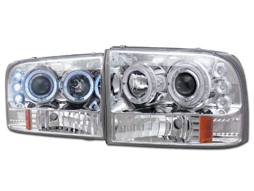 CHROME LED 2*HALO RIMS PROJECTOR HEAD LIGHTS CORNER SIGNAL 99-04 F250/EXCURSION
