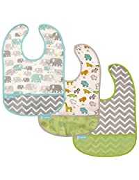 Kushies Baby B1173-3 Clean Bib Waterproof-Bib, White Little Safari/White Elephants/Green Chevron, 12-Month-Plus