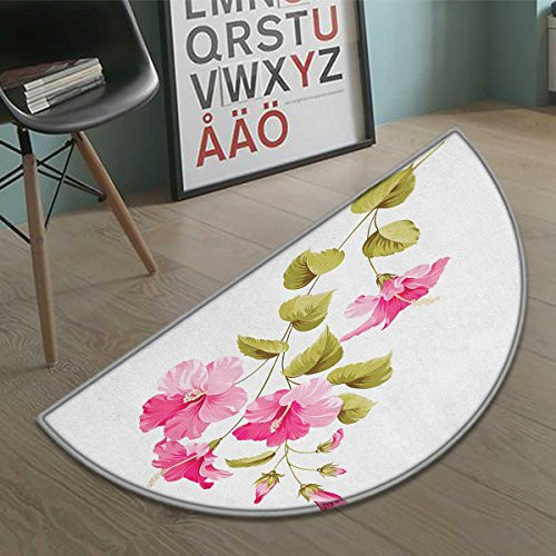 Suchashome Flower Half round doormat outside Tropic Wild Hibiscus Flower Branch with Fresh Leaves Exotic Flora Concept Bathroom Mat for tub Non Slip Pink Green White size:35.5